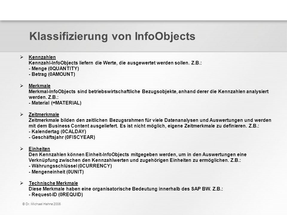 © Dr. Michael Hahne 2006 Klassifizierung von InfoObjects Kennzahlen Kennzahl-InfoObjects liefern die Werte, die ausgewertet werden sollen. Z.B.: - Men