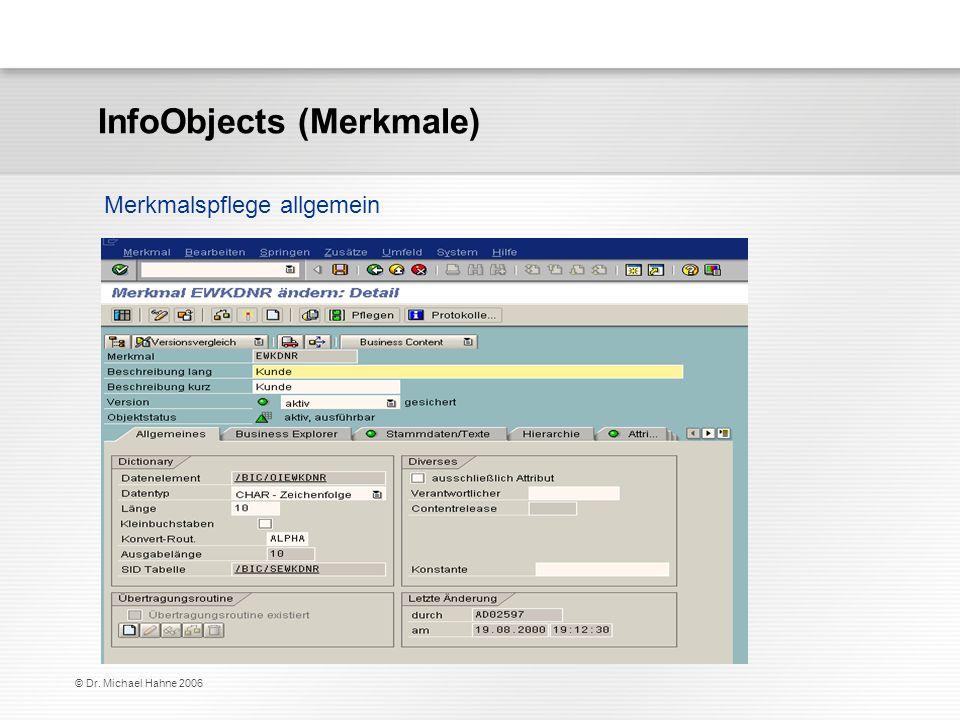 © Dr. Michael Hahne 2006 Merkmalspflege allgemein InfoObjects (Merkmale)