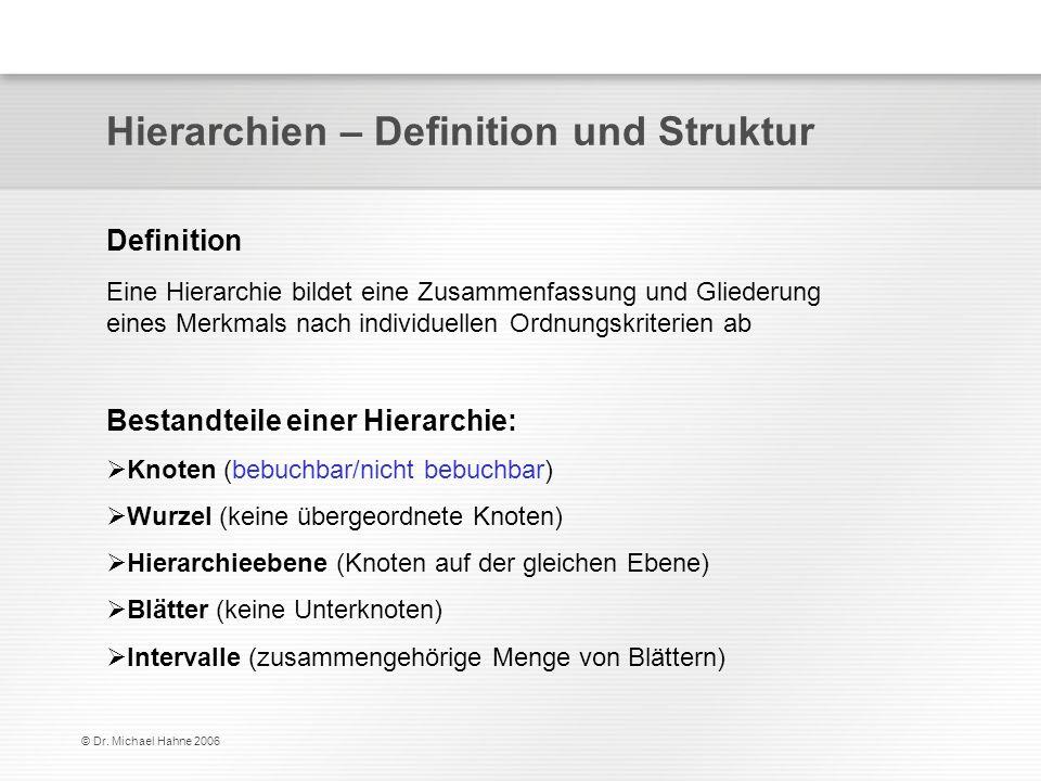© Dr. Michael Hahne 2006 Hierarchien – Definition und Struktur Bestandteile einer Hierarchie: Knoten (bebuchbar/nicht bebuchbar) Wurzel (keine übergeo