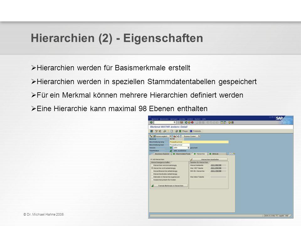© Dr. Michael Hahne 2006 Hierarchien (2) - Eigenschaften Hierarchien werden für Basismerkmale erstellt Hierarchien werden in speziellen Stammdatentabe