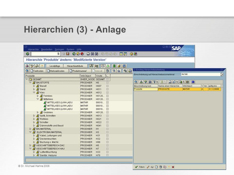 © Dr. Michael Hahne 2006 Hierarchien (3) - Anlage
