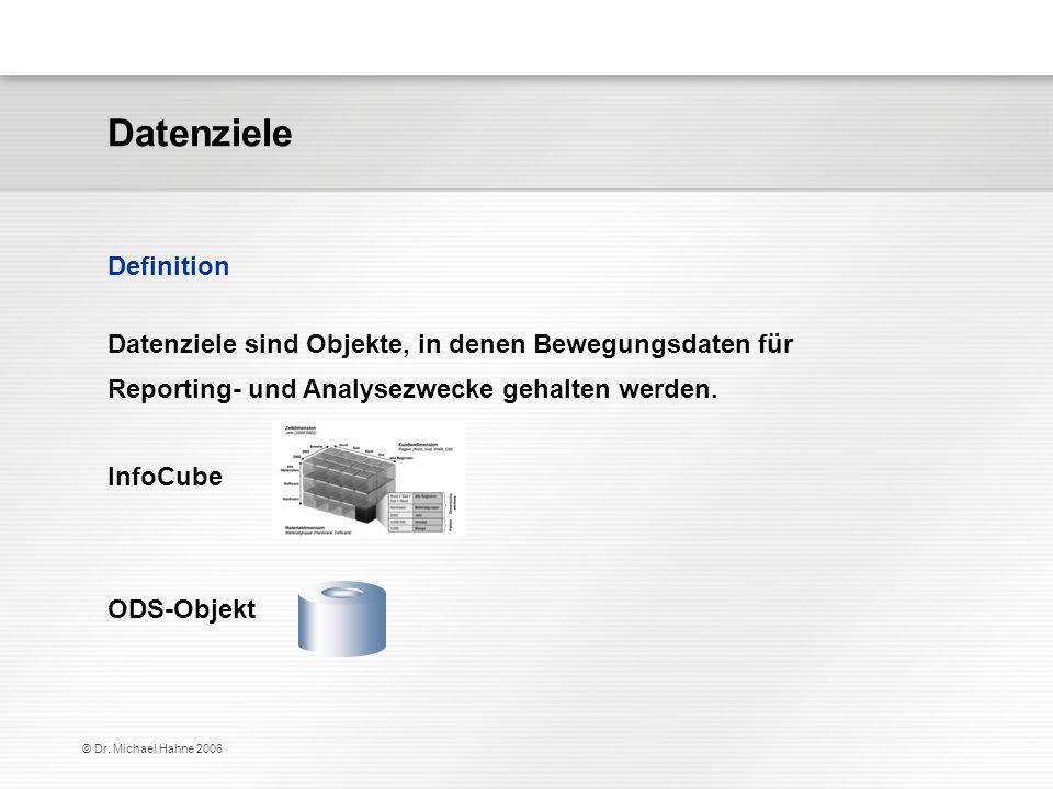 © Dr. Michael Hahne 2006 Datenziele sind Objekte, in denen Bewegungsdaten für Reporting- und Analysezwecke gehalten werden. InfoCube ODS-Objekt Defini