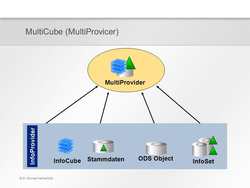 © Dr. Michael Hahne 2006 MultiCube (MultiProvicer) InfoCube Stammdaten ODS Object InfoSet MultiProvider InfoProvider