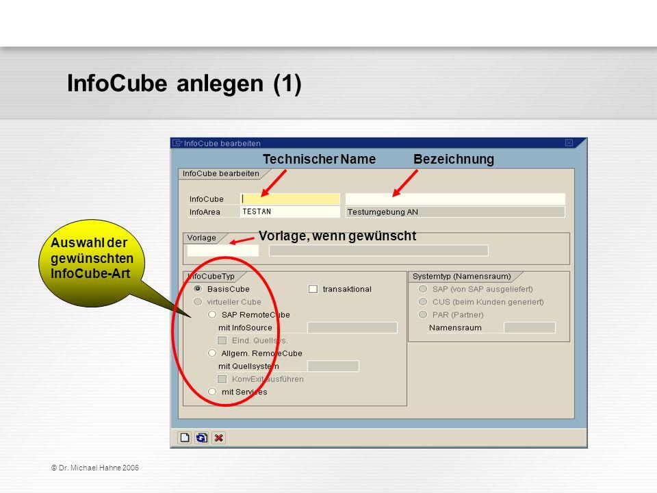© Dr. Michael Hahne 2006 Auswahl der gewünschten InfoCube-Art Technischer Name Bezeichnung Vorlage, wenn gewünscht InfoCube anlegen (1)