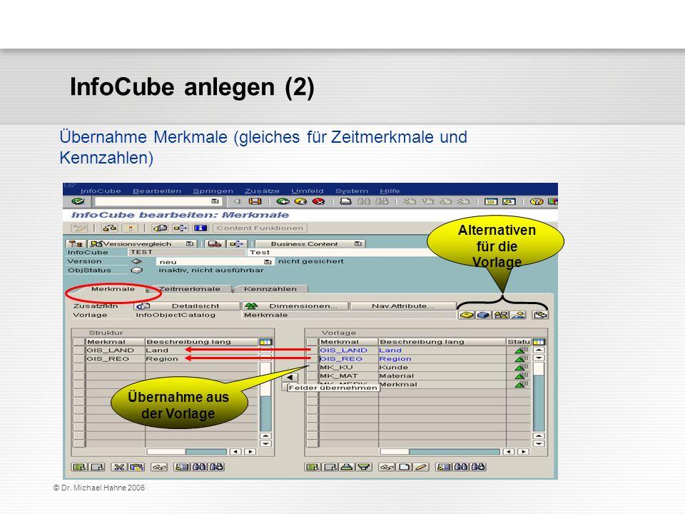 © Dr. Michael Hahne 2006 Übernahme Merkmale (gleiches für Zeitmerkmale und Kennzahlen) Alternativen für die Vorlage Übernahme aus der Vorlage InfoCube