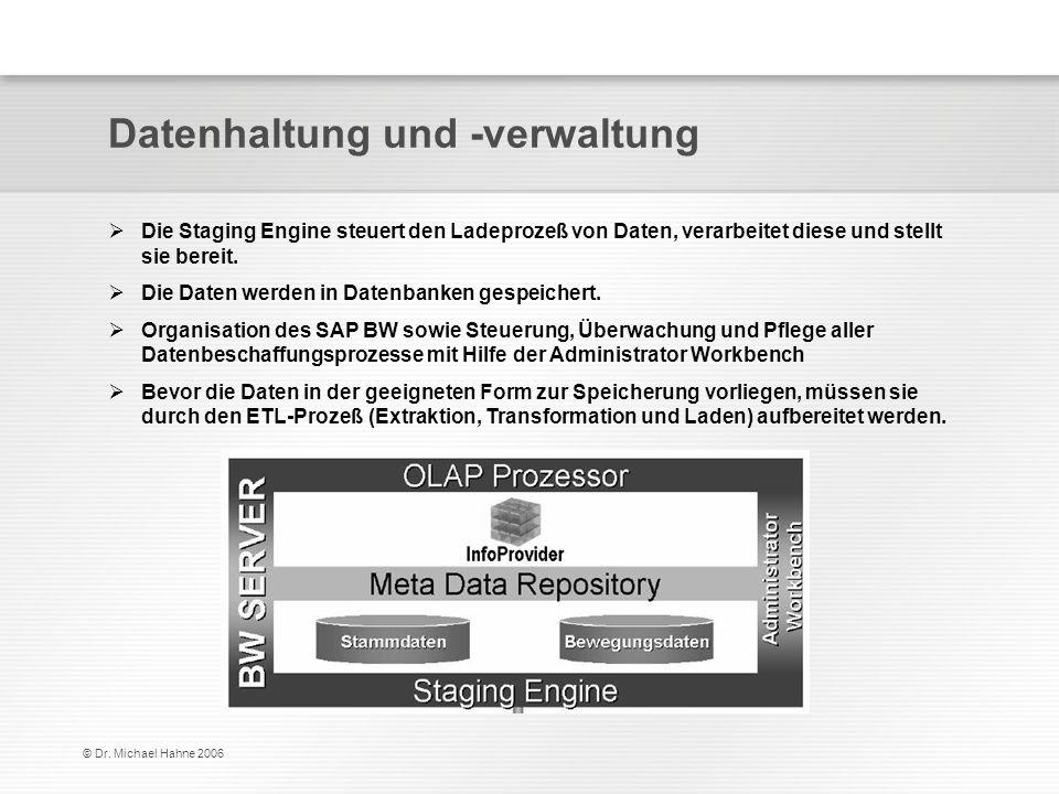 © Dr. Michael Hahne 2006 Datenhaltung und -verwaltung Die Staging Engine steuert den Ladeprozeß von Daten, verarbeitet diese und stellt sie bereit. Di