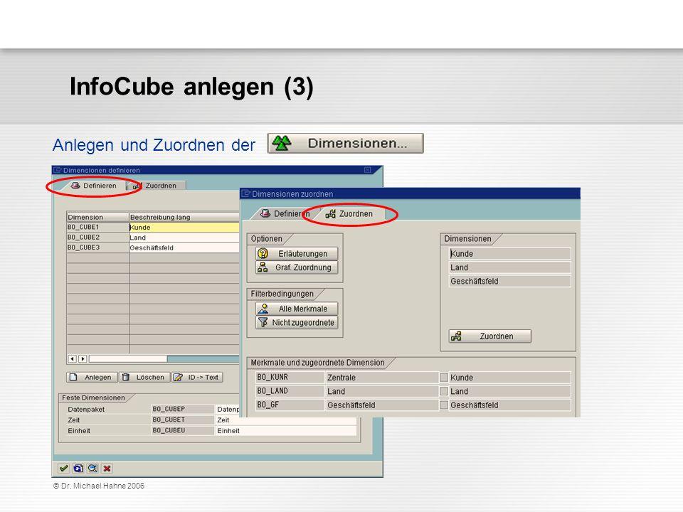 © Dr. Michael Hahne 2006 Anlegen und Zuordnen der InfoCube anlegen (3)