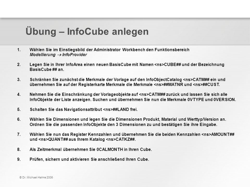 © Dr. Michael Hahne 2006 Übung – InfoCube anlegen 1.Wählen Sie im Einstiegsbild der Administrator Workbench den Funktionsbereich Modellierung InfoProv