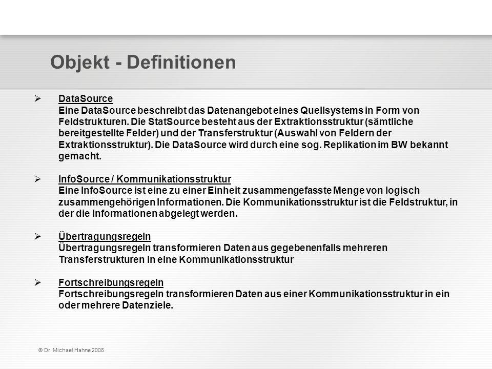 © Dr. Michael Hahne 2006 Objekt - Definitionen DataSource Eine DataSource beschreibt das Datenangebot eines Quellsystems in Form von Feldstrukturen. D