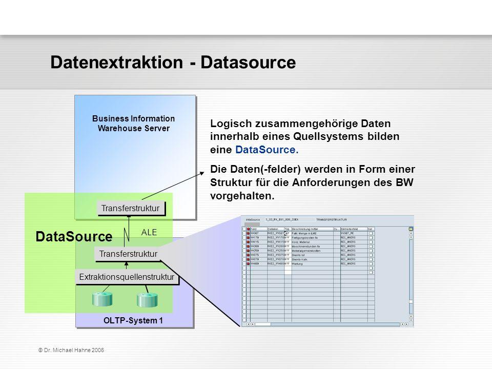 © Dr. Michael Hahne 2006 Logisch zusammengehörige Daten innerhalb eines Quellsystems bilden eine DataSource. Die Daten(-felder) werden in Form einer S