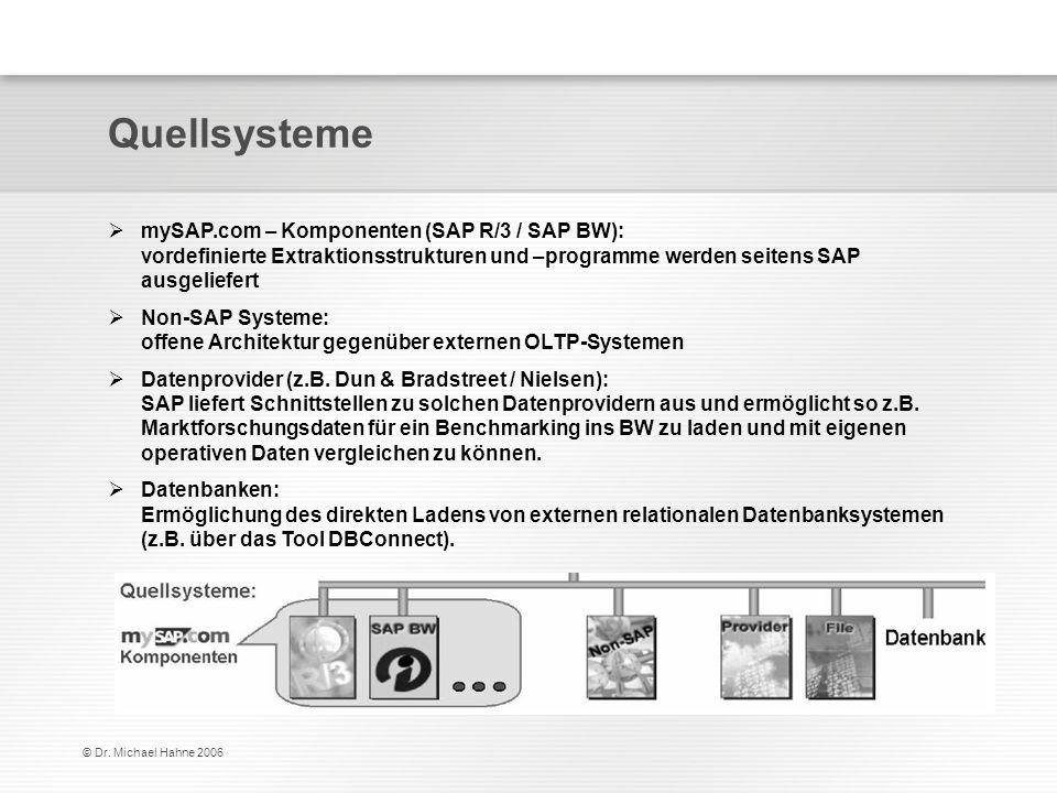 © Dr. Michael Hahne 2006 Quellsysteme mySAP.com – Komponenten (SAP R/3 / SAP BW): vordefinierte Extraktionsstrukturen und –programme werden seitens SA
