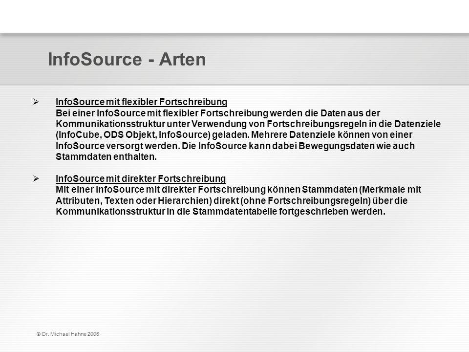 © Dr. Michael Hahne 2006 InfoSource - Arten InfoSource mit flexibler Fortschreibung Bei einer InfoSource mit flexibler Fortschreibung werden die Daten