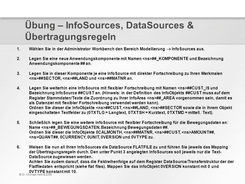 © Dr. Michael Hahne 2006 Übung – InfoSources, DataSources & Übertragungsregeln 1.Wählen Sie in der Administrator Workbench den Bereich Modellierung In