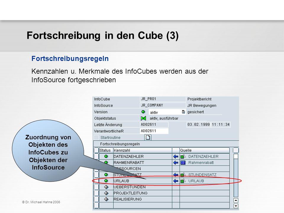 © Dr. Michael Hahne 2006 Fortschreibung in den Cube (3) Kennzahlen u. Merkmale des InfoCubes werden aus der InfoSource fortgeschrieben Fortschreibungs