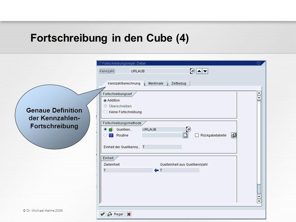 © Dr. Michael Hahne 2006 Fortschreibung in den Cube (4) Genaue Definition der Kennzahlen- Fortschreibung