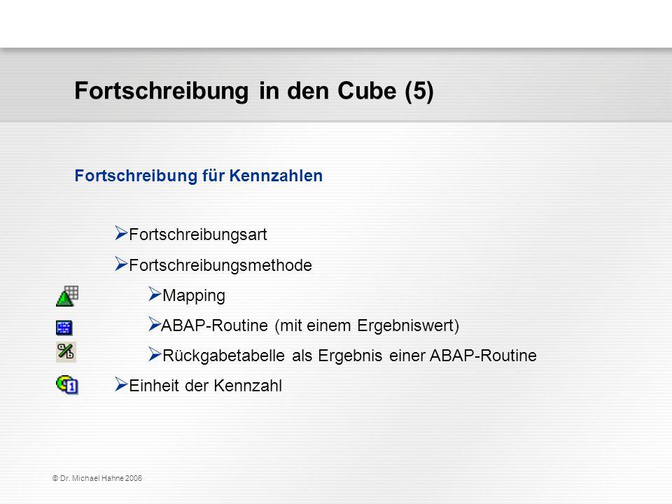 © Dr. Michael Hahne 2006 Fortschreibung in den Cube (5) Fortschreibungsart Fortschreibungsmethode Mapping ABAP-Routine (mit einem Ergebniswert) Rückga