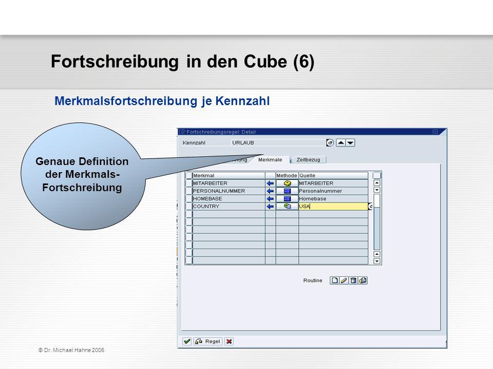 © Dr. Michael Hahne 2006 Fortschreibung in den Cube (6) Merkmalsfortschreibung je Kennzahl Genaue Definition der Merkmals- Fortschreibung