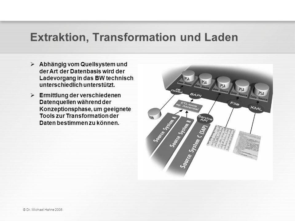© Dr. Michael Hahne 2006 Extraktion, Transformation und Laden Abhängig vom Quellsystem und der Art der Datenbasis wird der Ladevorgang in das BW techn