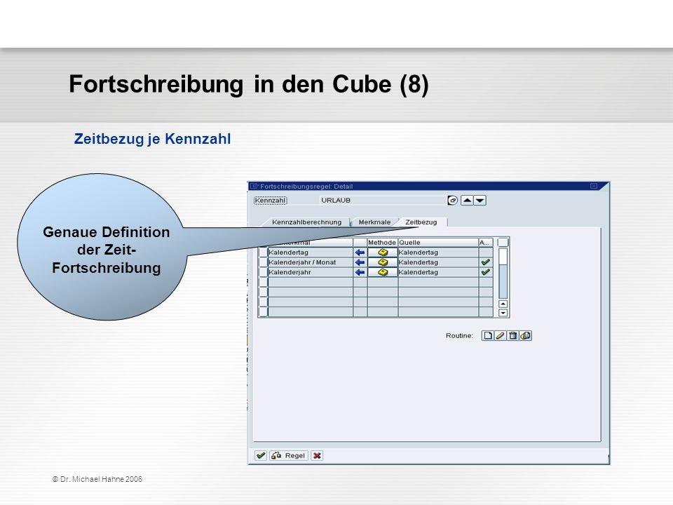 © Dr. Michael Hahne 2006 Fortschreibung in den Cube (8) Zeitbezug je Kennzahl Genaue Definition der Zeit- Fortschreibung