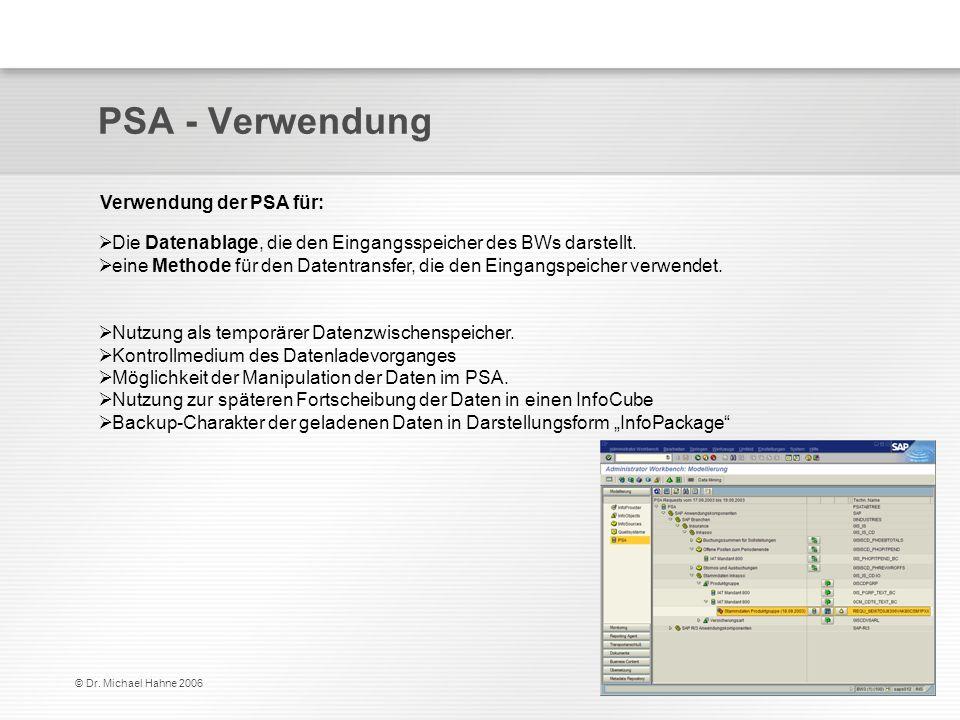© Dr. Michael Hahne 2006 PSA - Verwendung Verwendung der PSA für: Die Datenablage, die den Eingangsspeicher des BWs darstellt. eine Methode für den Da