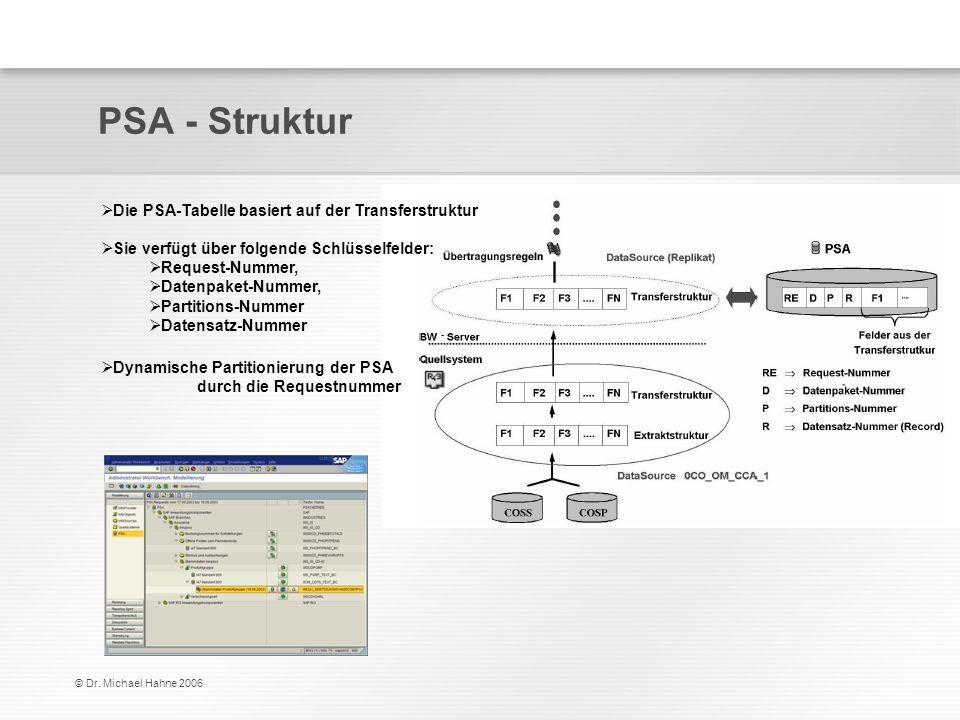 © Dr. Michael Hahne 2006 PSA - Struktur Die PSA-Tabelle basiert auf der Transferstruktur Sie verfügt über folgende Schlüsselfelder: Request-Nummer, Da