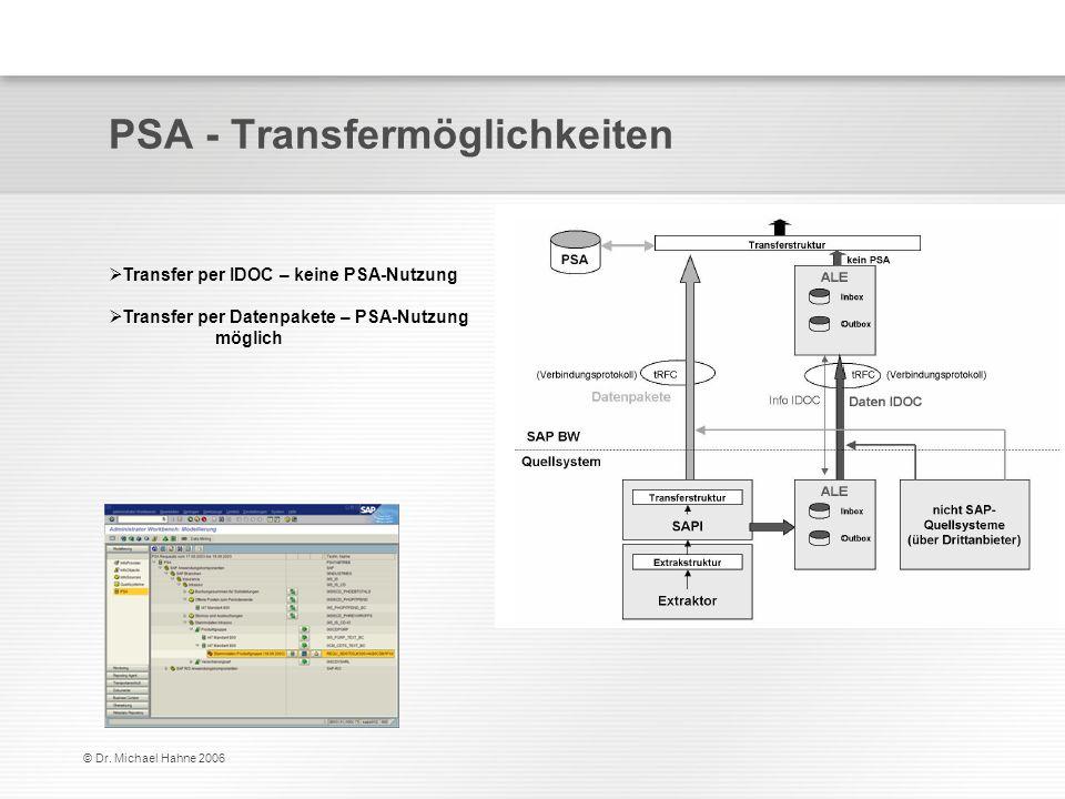 © Dr. Michael Hahne 2006 PSA - Transfermöglichkeiten Transfer per IDOC – keine PSA-Nutzung Transfer per Datenpakete – PSA-Nutzung möglich