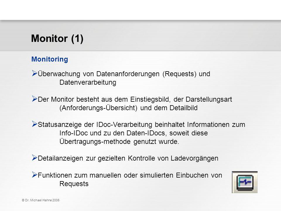 © Dr. Michael Hahne 2006 Überwachung von Datenanforderungen (Requests) und Datenverarbeitung Der Monitor besteht aus dem Einstiegsbild, der Darstellun