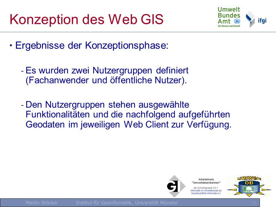 Martin Stöcker Institut für Geoinformatik, Universität Münster 10 Konzeption des Web GIS Ergebnisse der Konzeptionsphase: - Es wurden zwei Nutzergrupp