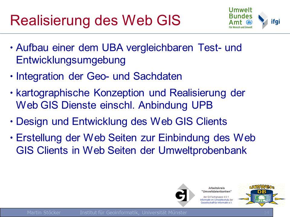 Martin Stöcker Institut für Geoinformatik, Universität Münster 14 Realisierung des Web GIS Aufbau einer dem UBA vergleichbaren Test- und Entwicklungsu