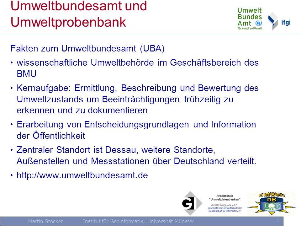 Martin Stöcker Institut für Geoinformatik, Universität Münster 6 Umweltbundesamt und Umweltprobenbank Fakten zur Umweltprobenbank (UPB) Aufnahme von Belastungen bzgl.