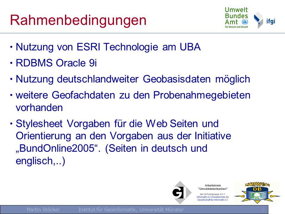Martin Stöcker Institut für Geoinformatik, Universität Münster 8 Rahmenbedingungen Nutzung von ESRI Technologie am UBA RDBMS Oracle 9i Nutzung deutsch