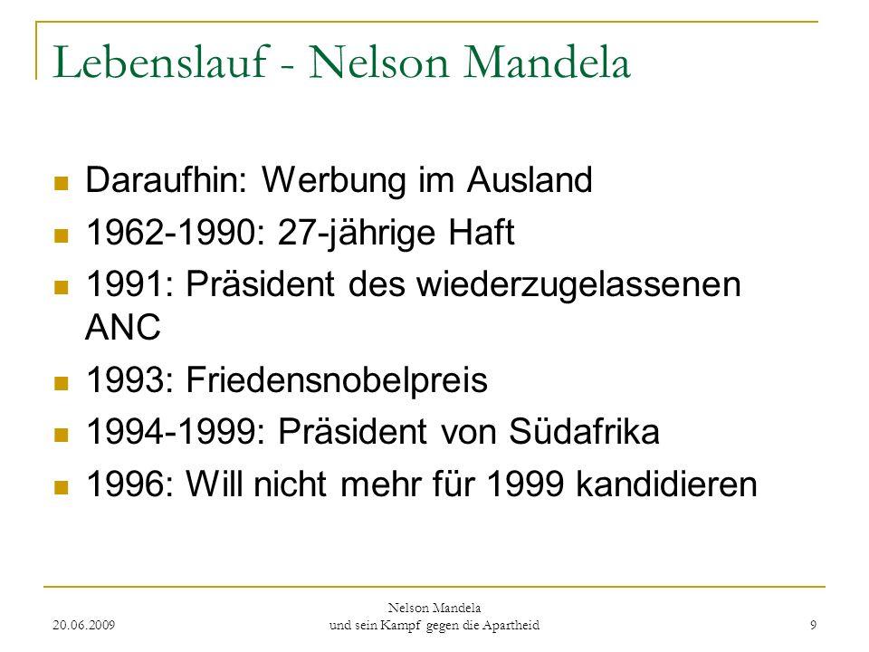 20.06.2009 Nelson Mandela und sein Kampf gegen die Apartheid 9 Lebenslauf - Nelson Mandela Daraufhin: Werbung im Ausland 1962-1990: 27-jährige Haft 19