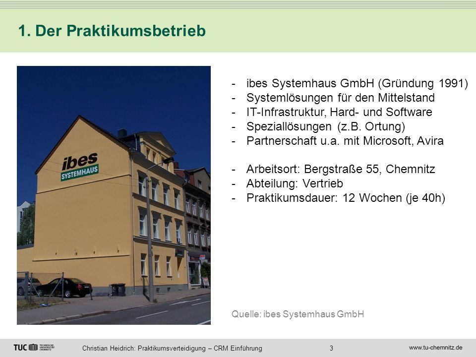 3Christian Heidrich: Praktikumsverteidigung – CRM Einführung 1. Der Praktikumsbetrieb -ibes Systemhaus GmbH (Gründung 1991) -Systemlösungen für den Mi