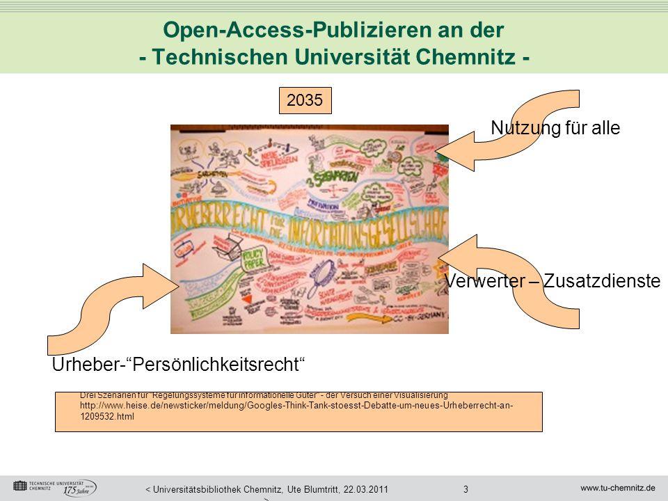 3< Universitätsbibliothek Chemnitz, Ute Blumtritt, 22.03.2011 > Open-Access-Publizieren an der - Technischen Universität Chemnitz - Drei Szenarien für