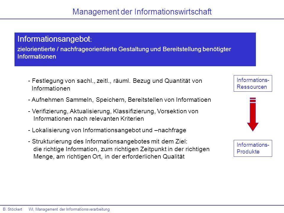 B. Stöckert WI, Management der Informationsverarbeitung Management der Informationswirtschaft Informationsangebot : zielorientierte / nachfrageorienti