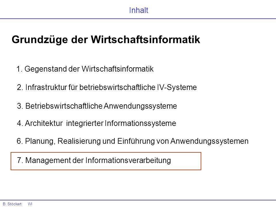 B. Stöckert WI Inhalt Grundzüge der Wirtschaftsinformatik 1. Gegenstand der Wirtschaftsinformatik 4. Architektur integrierter Informationssysteme 6. P