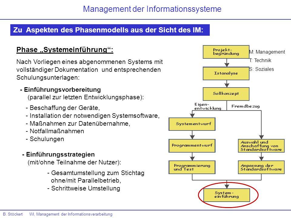 B. Stöckert WI, Management der Informationsverarbeitung Management der Informationssysteme Zu Aspekten des Phasenmodells aus der Sicht des IM: Phase S