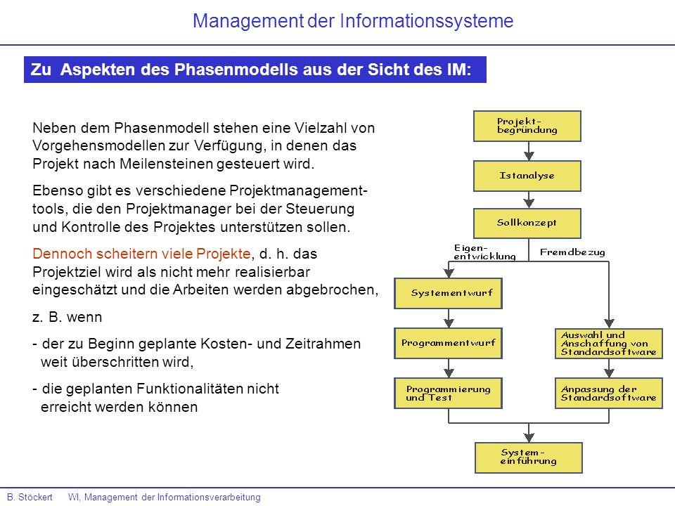 B. Stöckert WI, Management der Informationsverarbeitung Management der Informationssysteme Zu Aspekten des Phasenmodells aus der Sicht des IM: Neben d