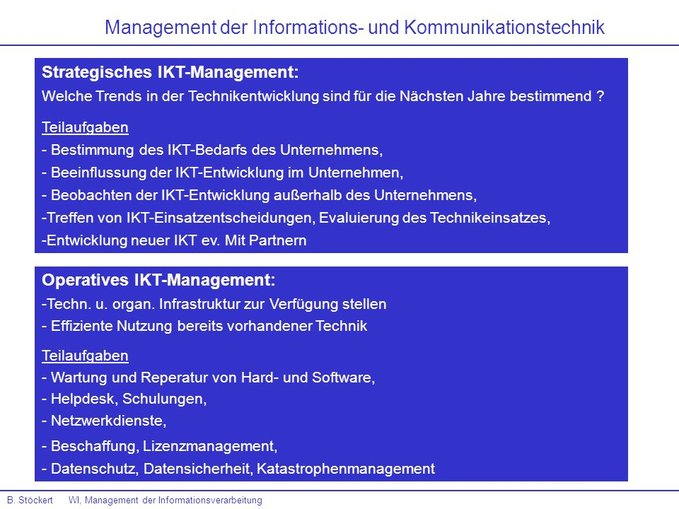 B. Stöckert WI, Management der Informationsverarbeitung Management der Informations- und Kommunikationstechnik Strategisches IKT-Management: Welche Tr