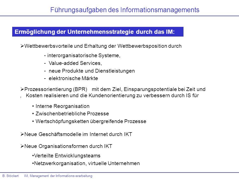 B. Stöckert WI, Management der Informationsverarbeitung Führungsaufgaben des Informationsmanagements Ermöglichung der Unternehmensstrategie durch das