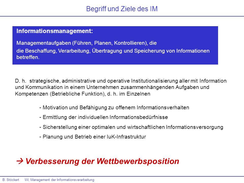 B. Stöckert WI, Management der Informationsverarbeitung D. h. strategische, administrative und operative Institutionalisierung aller mit Information u