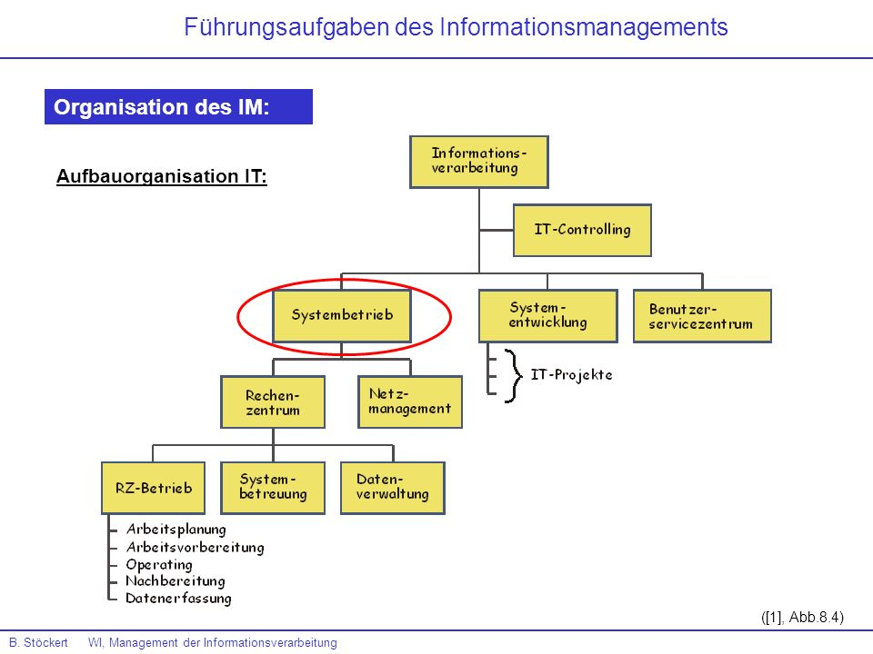 B. Stöckert WI, Management der Informationsverarbeitung ([1], Abb.8.4) Führungsaufgaben des Informationsmanagements Organisation des IM: Aufbauorganis