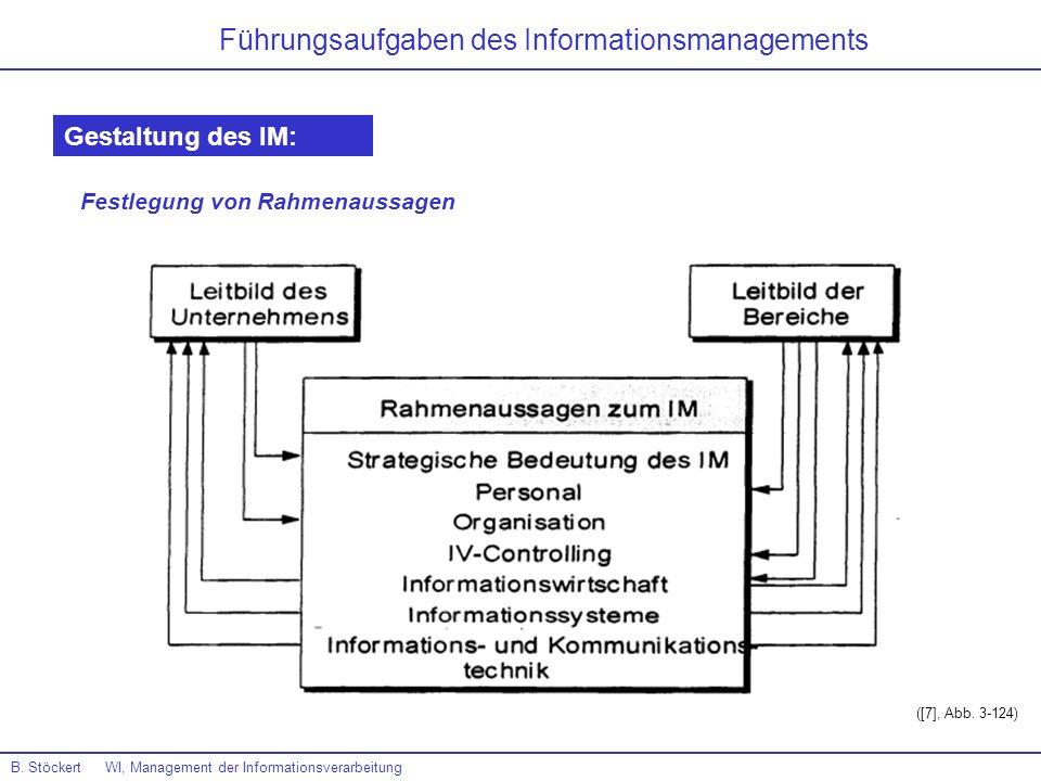 B. Stöckert WI, Management der Informationsverarbeitung Führungsaufgaben des Informationsmanagements Gestaltung des IM: Festlegung von Rahmenaussagen