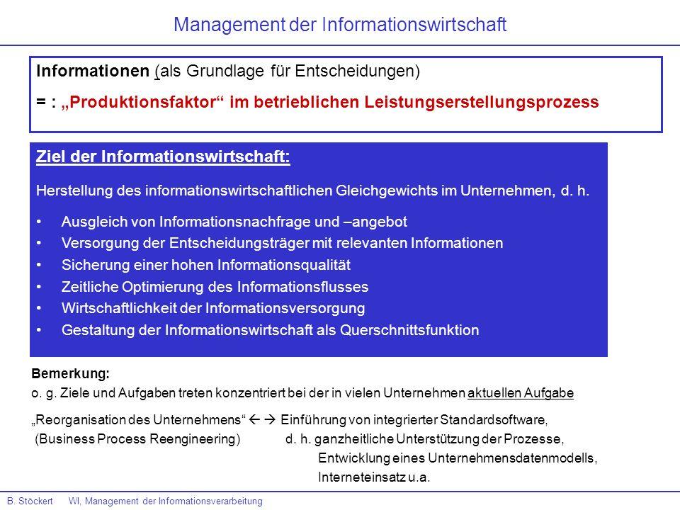 B. Stöckert WI, Management der Informationsverarbeitung Management der Informationswirtschaft Informationen (als Grundlage für Entscheidungen) = : Pro