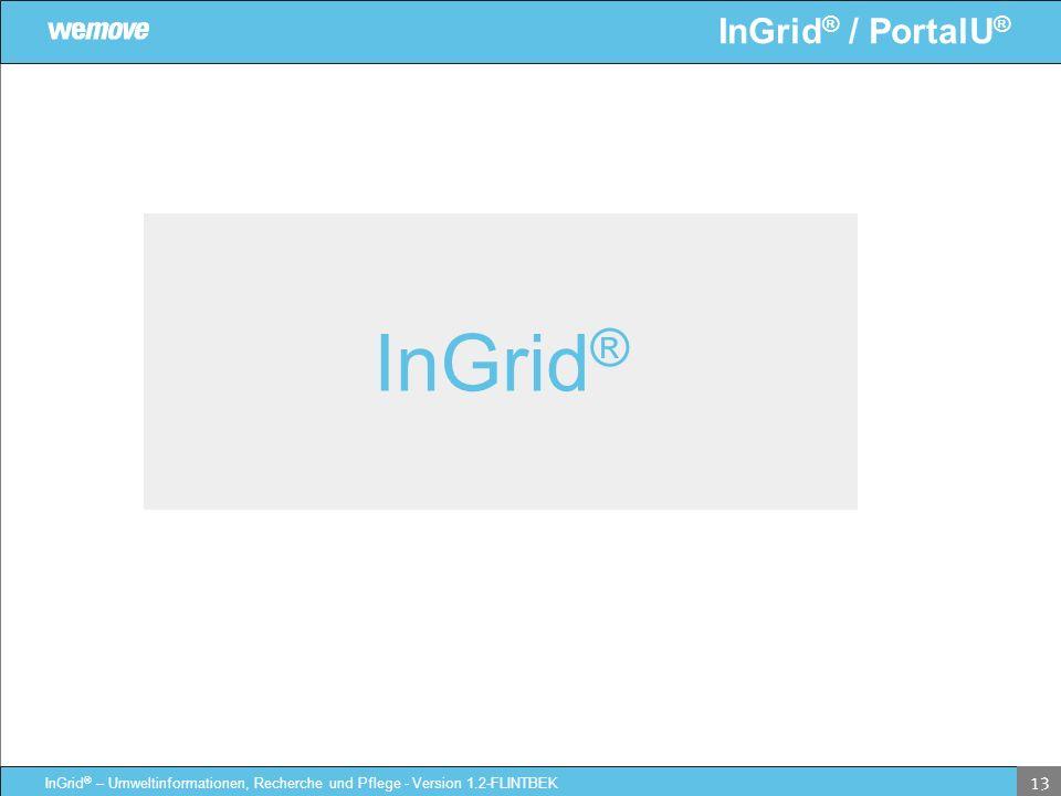 InGrid ® / PortalU ® InGrid ® – Umweltinformationen, Recherche und Pflege - Version 1.2-FLINTBEK 13 InGrid ®