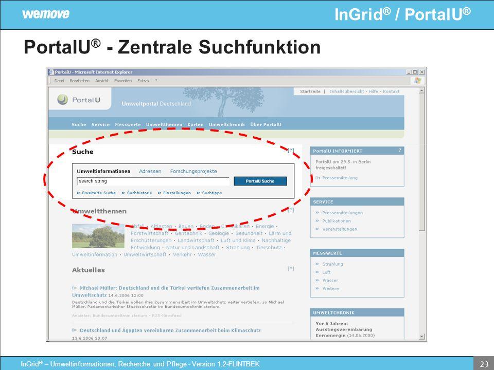 InGrid ® / PortalU ® InGrid ® – Umweltinformationen, Recherche und Pflege - Version 1.2-FLINTBEK 23 PortalU ® - Zentrale Suchfunktion