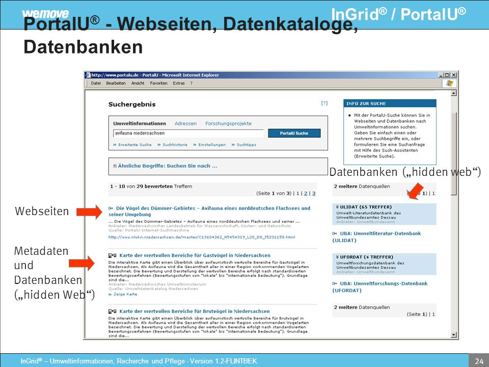 InGrid ® / PortalU ® InGrid ® – Umweltinformationen, Recherche und Pflege - Version 1.2-FLINTBEK 24 PortalU ® - Webseiten, Datenkataloge, Datenbanken