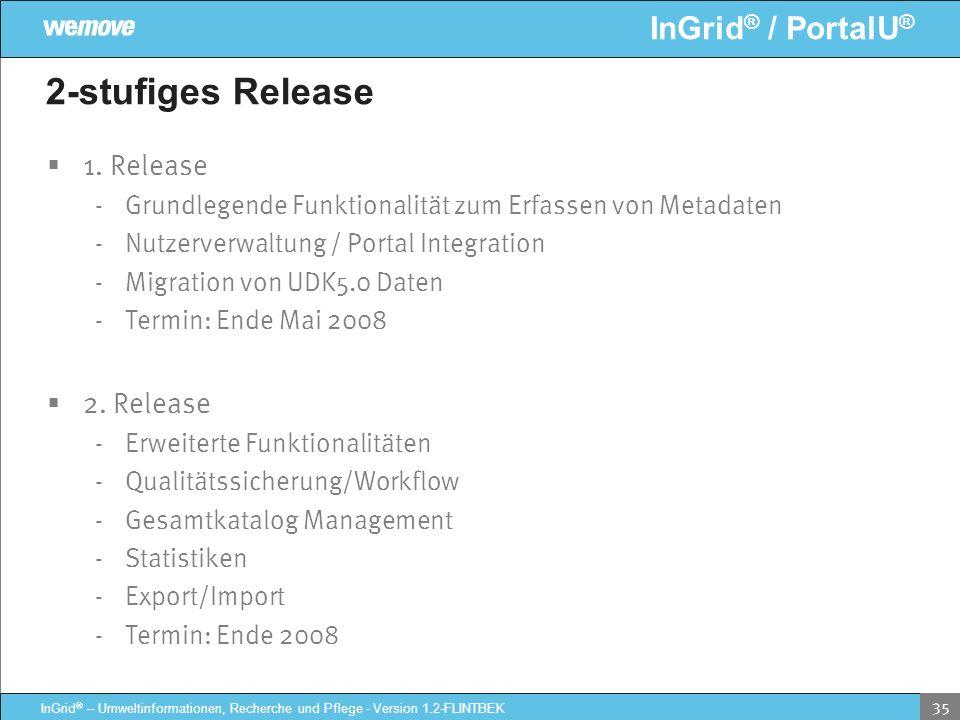 InGrid ® / PortalU ® InGrid ® – Umweltinformationen, Recherche und Pflege - Version 1.2-FLINTBEK 35 2-stufiges Release 1. Release - Grundlegende Funkt