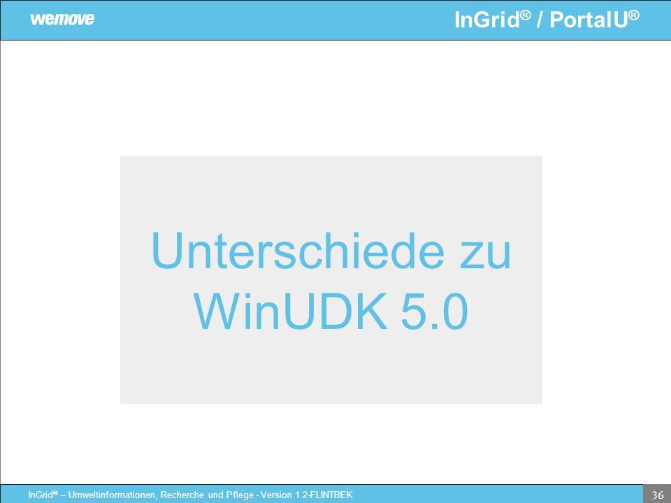 InGrid ® / PortalU ® InGrid ® – Umweltinformationen, Recherche und Pflege - Version 1.2-FLINTBEK 36 Unterschiede zu WinUDK 5.0