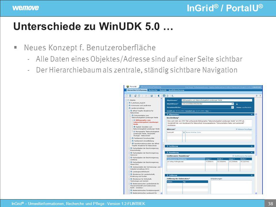InGrid ® / PortalU ® InGrid ® – Umweltinformationen, Recherche und Pflege - Version 1.2-FLINTBEK 38 Unterschiede zu WinUDK 5.0 … Neues Konzept f. Benu